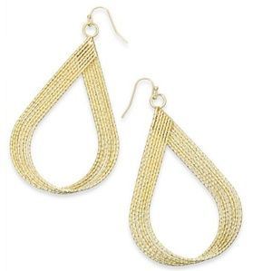 tear drop gold sparkly long earrings